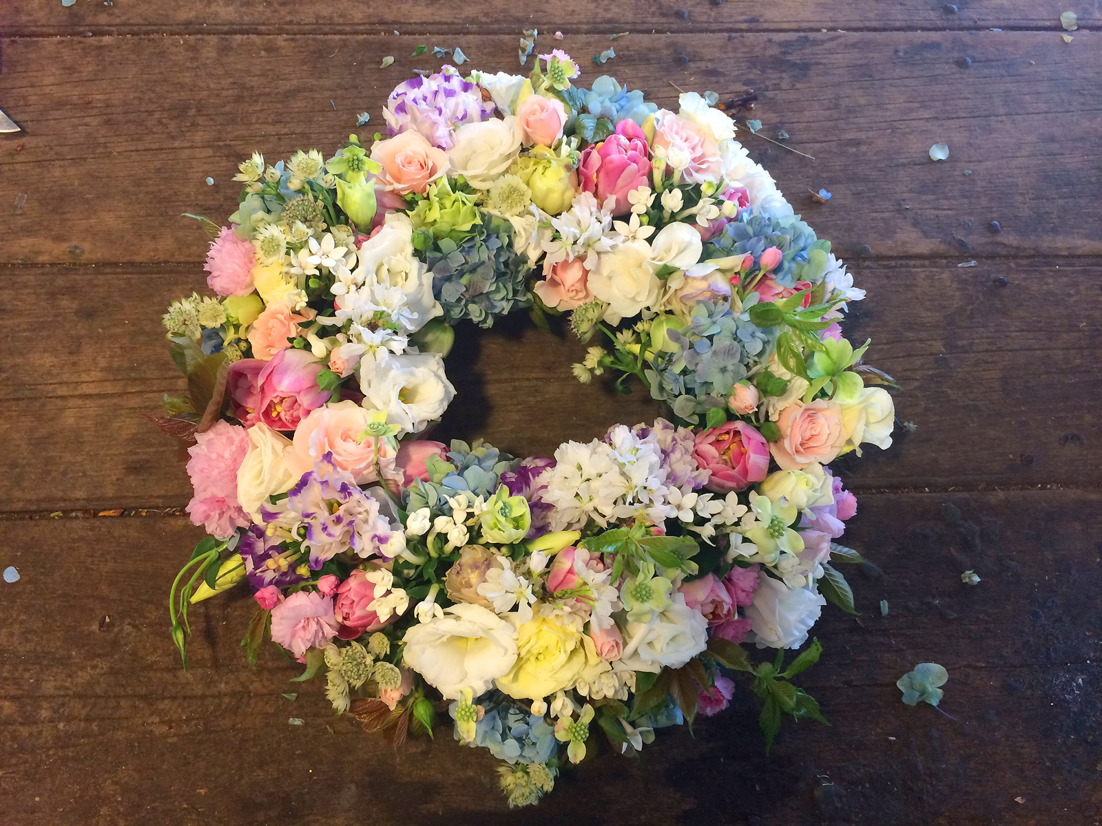 Funeral Wreath made with Spring Flowers and Dogwood